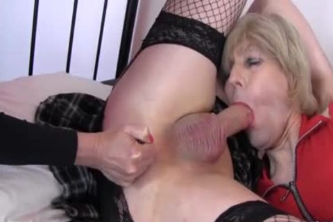 excited messy Crossdressers engulf enormous dong